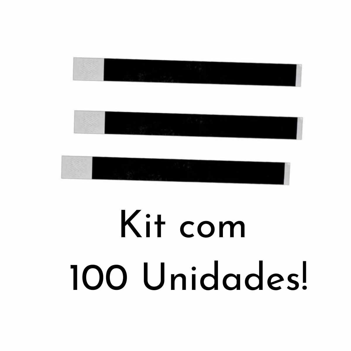 Kit Pulseira de Identificação c/100 - Preto