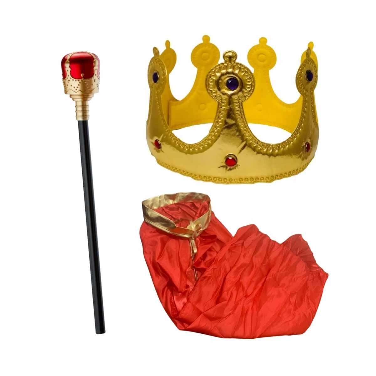 Kit Reizinho (Capa Rei Infantil + Bastão Rei + Coroa Rei Dourada Tecido)