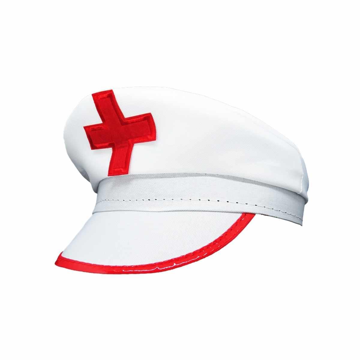 Kit Enfermeira Completo (Saia de Tule Branca Adulta + Quepe Enfermeira + Suspensório Branco + Meia Calça Enfermeira)