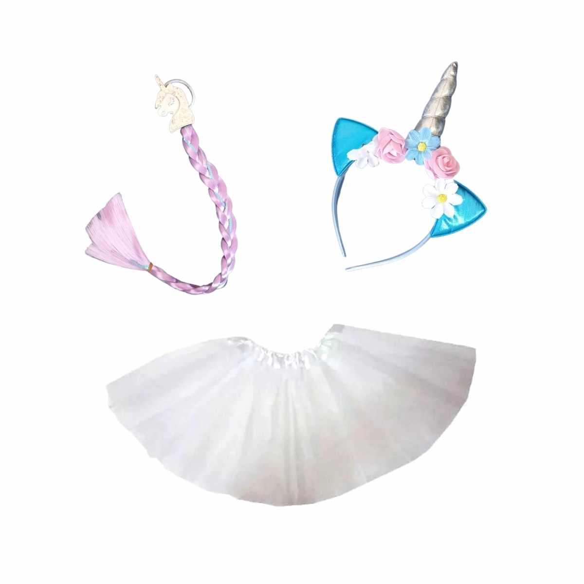 Kit Unicórnio Infantil (Saia de Tule Infantil Branca + Kit Unicórnio Tiara e Trança)