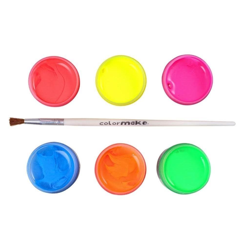 Kit Tinta Facial Fluorescente com 6 Cores e 1 Pincel