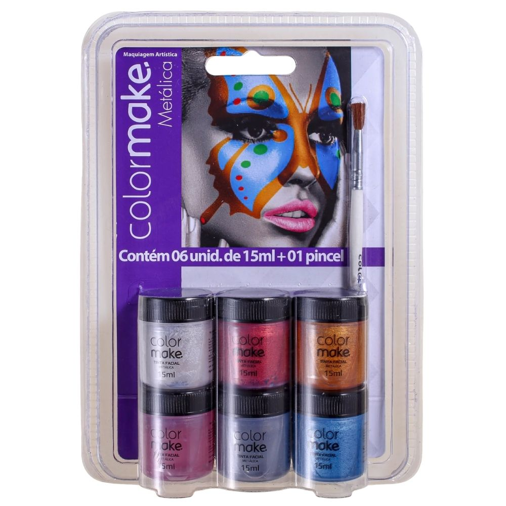 Kit Tinta Metálica 15ml com 6 cores e 1 Pincel