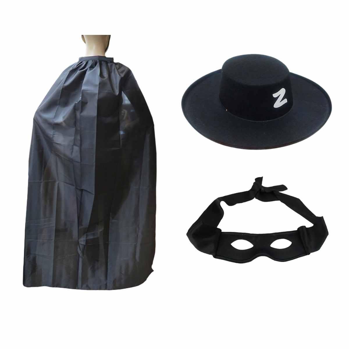 Kit Zorro (Máscara, Capa, Chapéu)