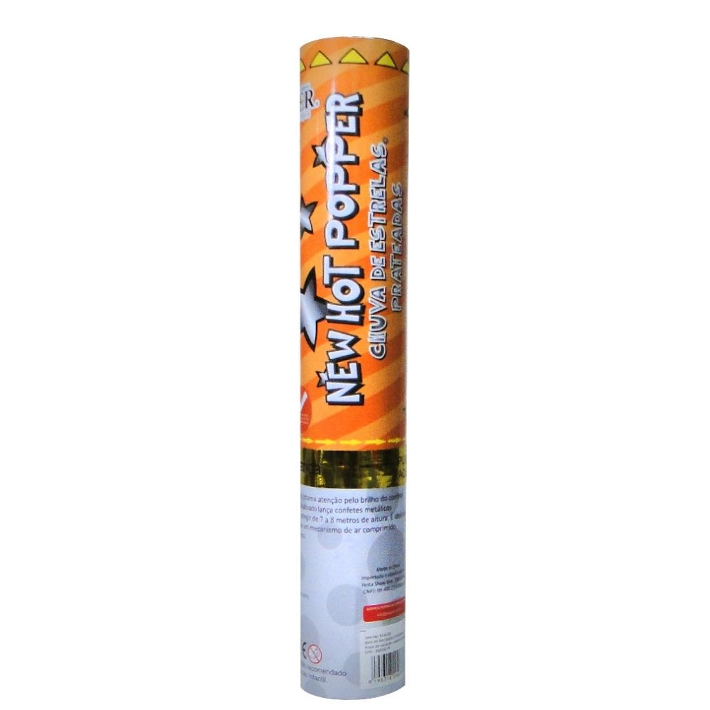 Lança Confete Chuva de Estrelas Prata 30 cm Ref. 8230-SS