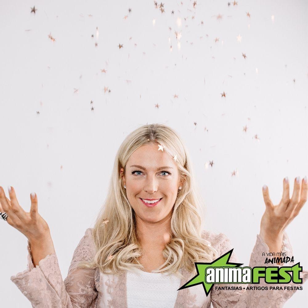 Lança Confete Granada Chuva de Estrelas Prata 30cm