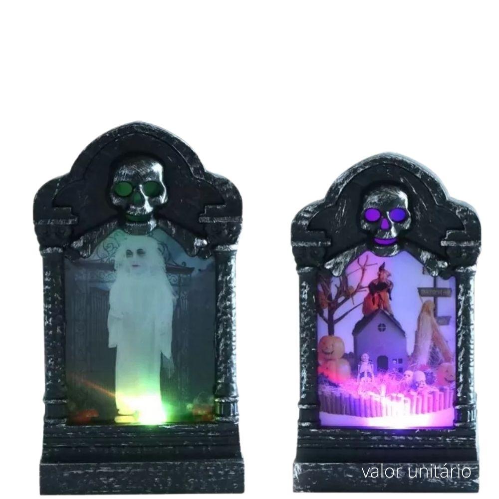 Lápide Decorativa Luminosa Halloween 12cm