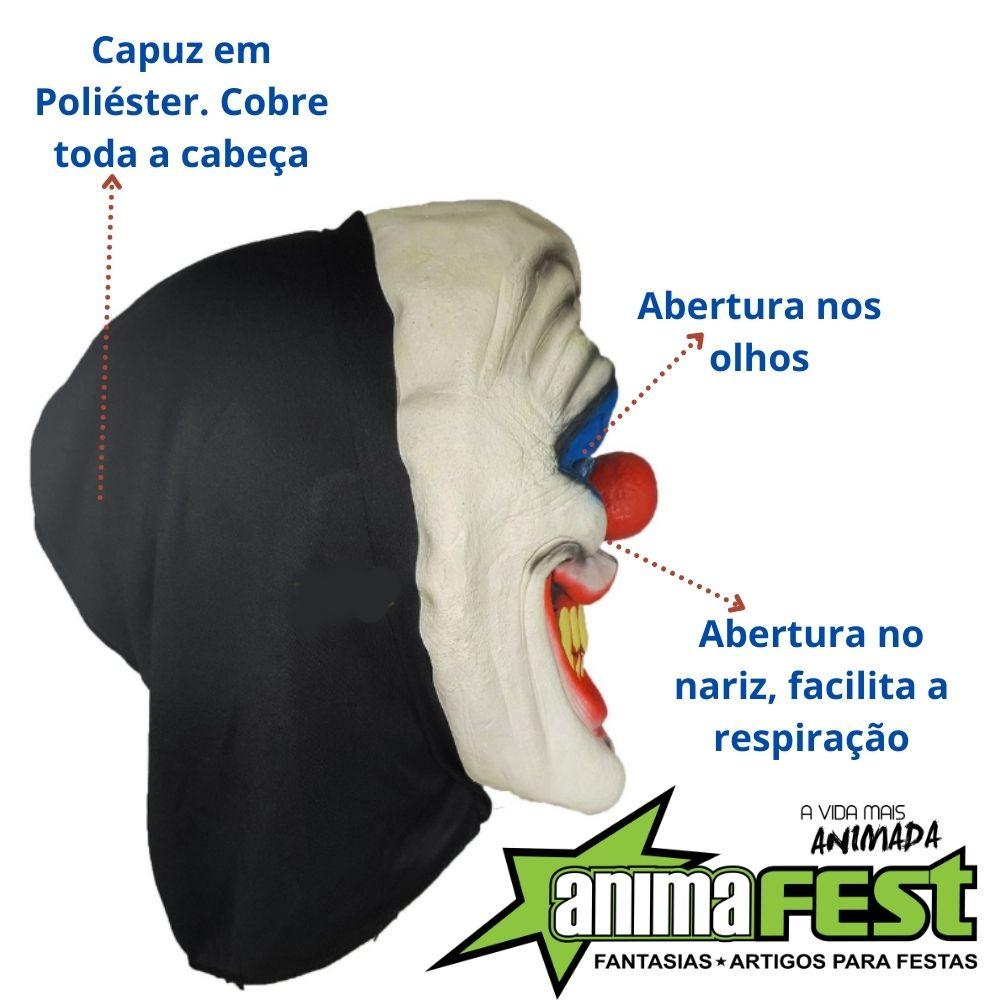 Máscara Palhaço Diabólico Látex com Capuz