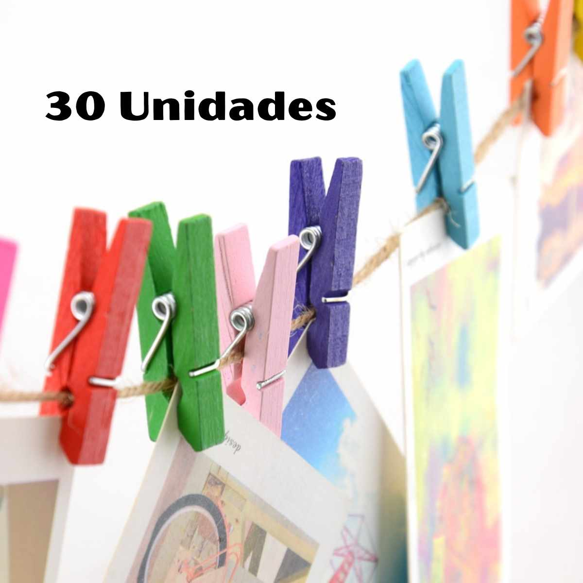 Mini Pregador de Madeira colorido  2,5cm c/30