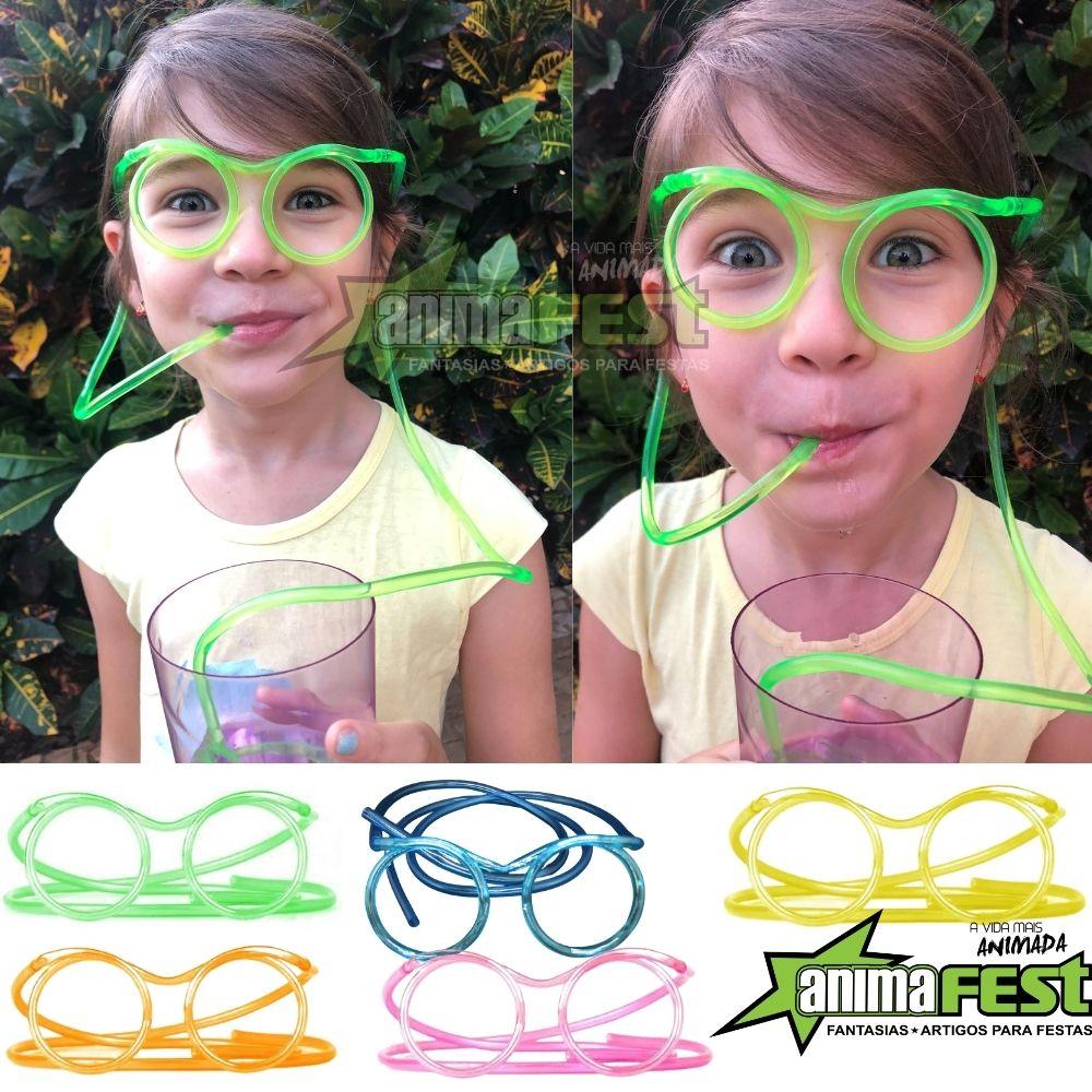 Óculos Canudo Divertido Reutilizável Chaves