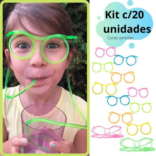 Óculos Canudo Divertido Reutilizável Chaves KIT c/20