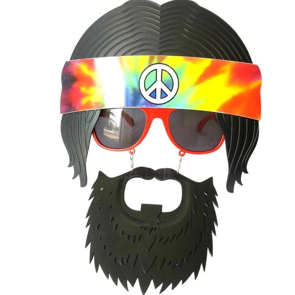 Kit Faixa Hippie + Colar e Brinco Hippie + Óculos Hippie