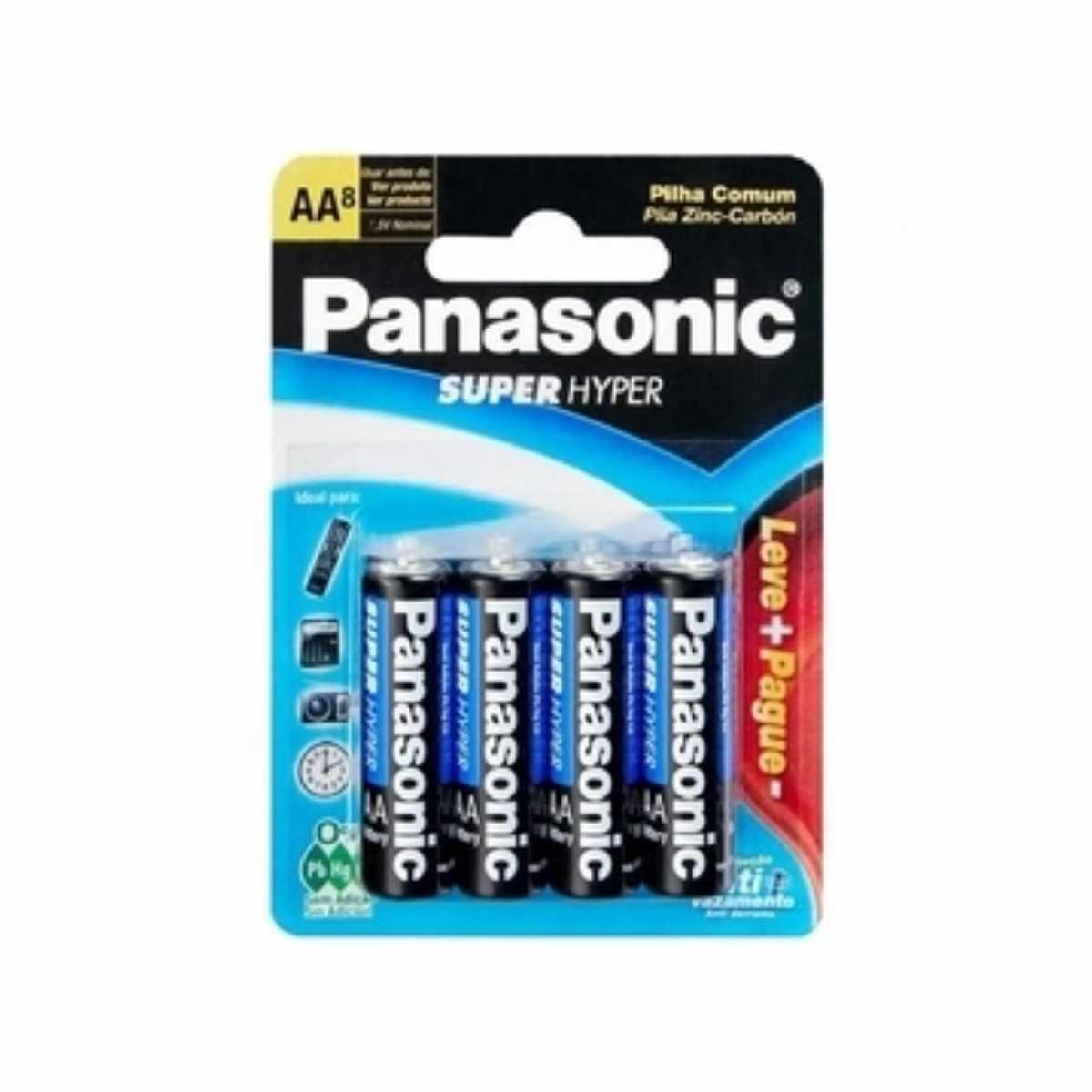 Pilha Comum Panasonic AA  Zinco Carbono Com 8 Unidades