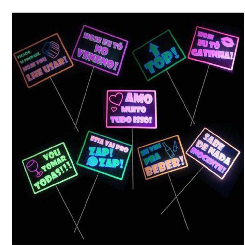 Plaquinhas Balada Neon com 10