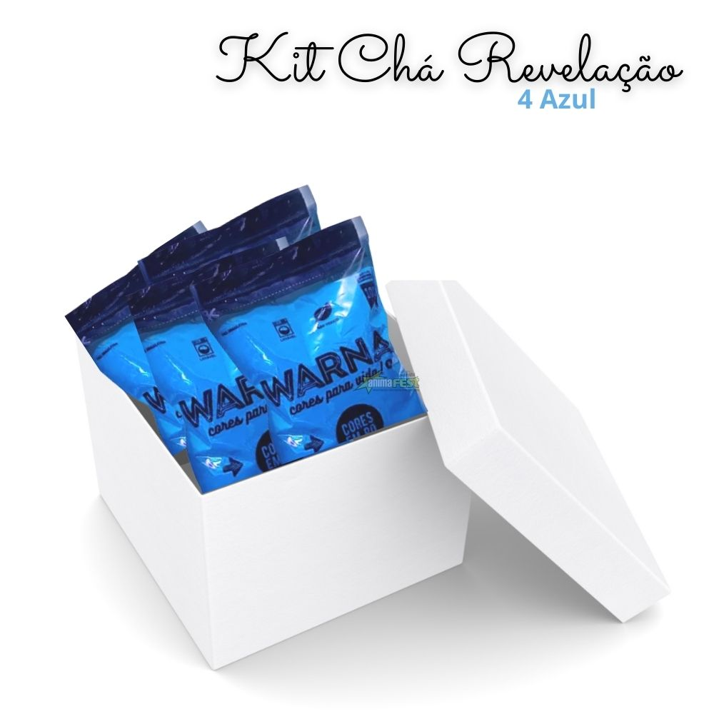 Pó Colorido para Chá de Revelação c/ 4 pacotes Azul