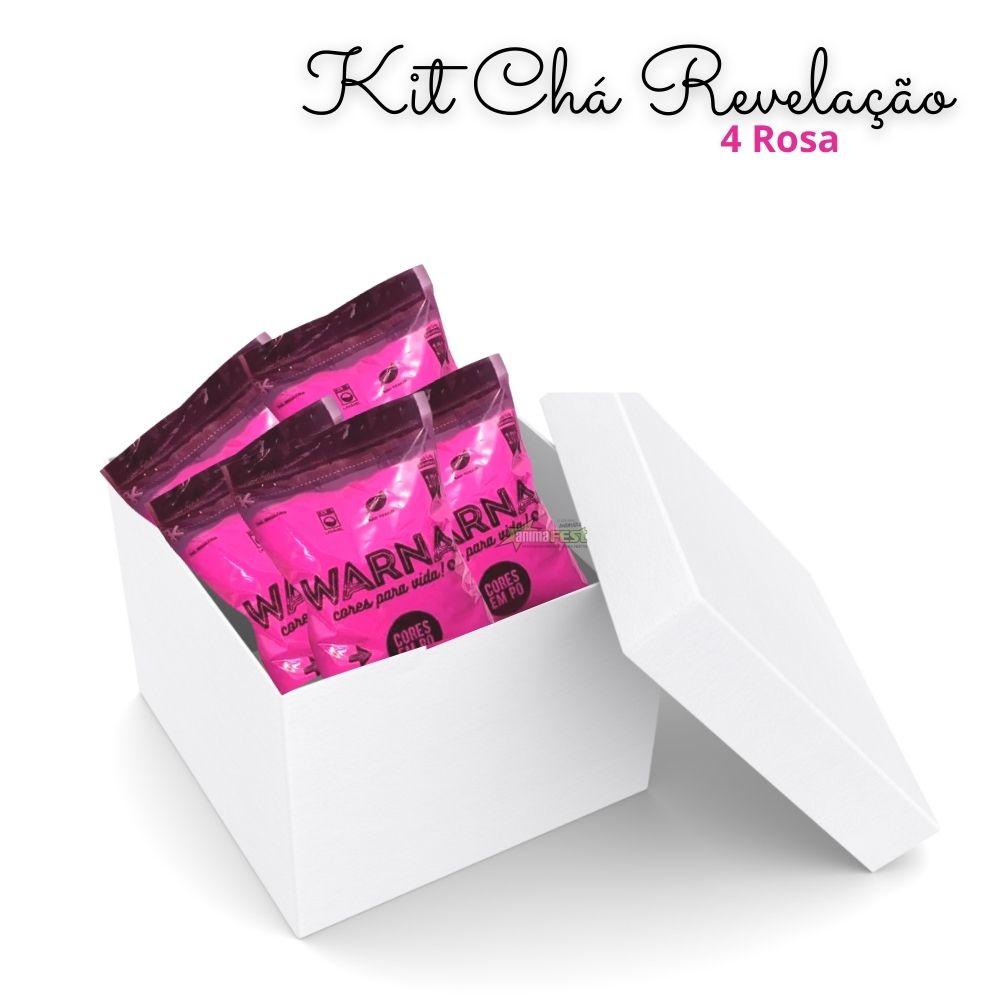 Pó Colorido para Chá de Revelação c/ 4 pacotes Rosa
