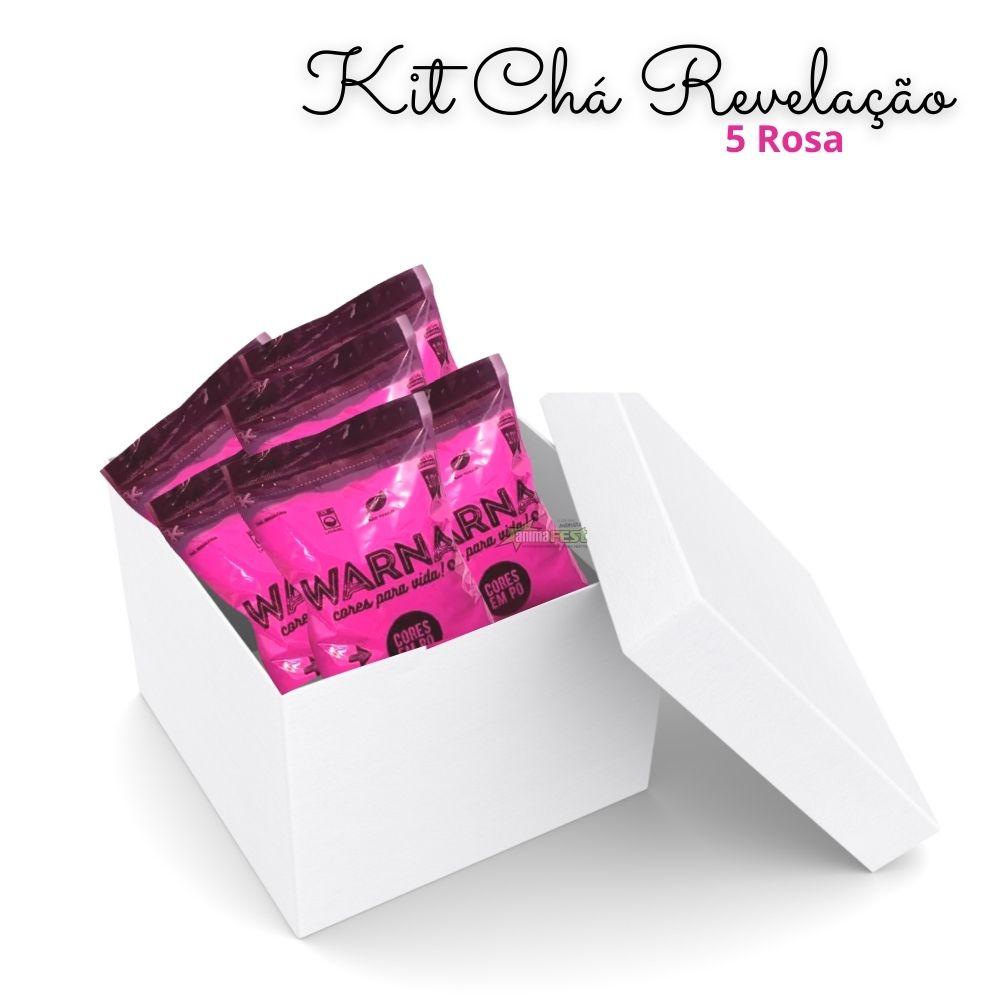 Pó Colorido para Chá de Revelação Rosa c/ 5 unid