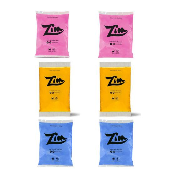 Pó Colorido Zim Color 100g c/6 (2 azul, 2 rosa, 2 amarelo)