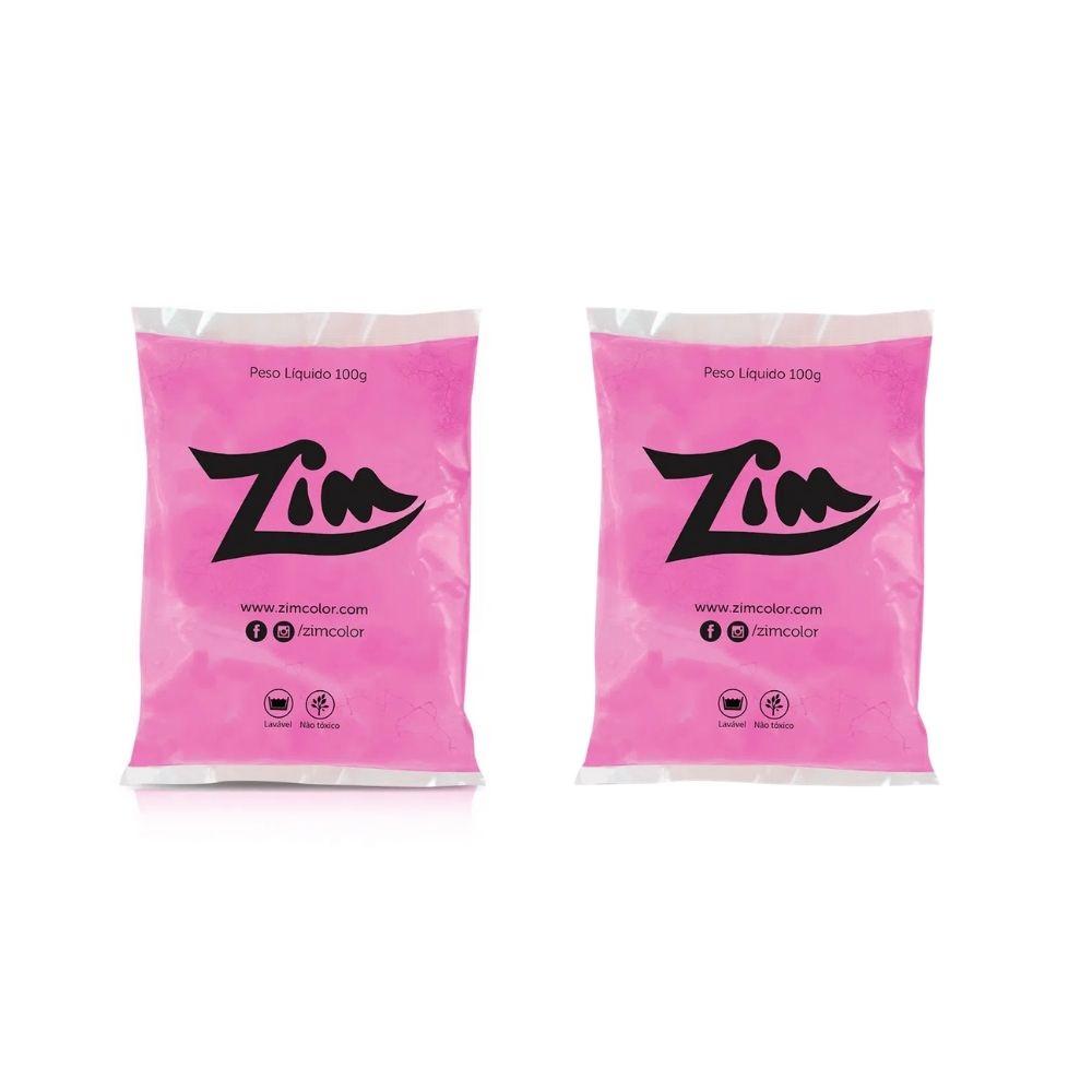 Pó Colorido Zim Color para Chá de Revelação 2 Rosa e 2 Azul