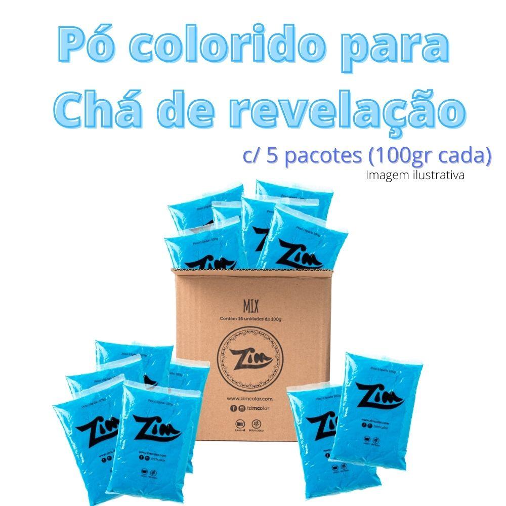 Pó Colorido Zim Color Para Chá de Revelação Azul c/ 5 unid