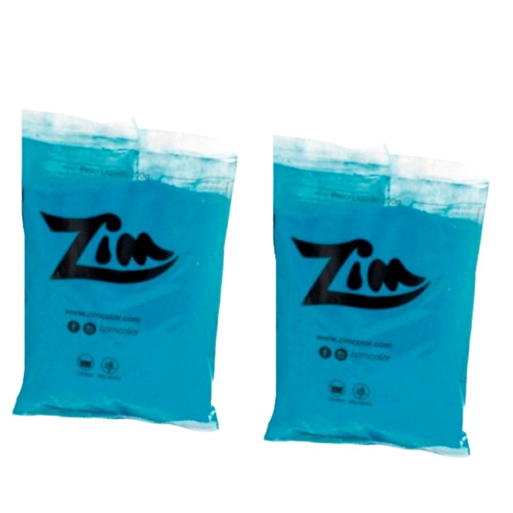 Pó Colorido Zim Color para Chá de Revelação c/ 4 pacotes Azul