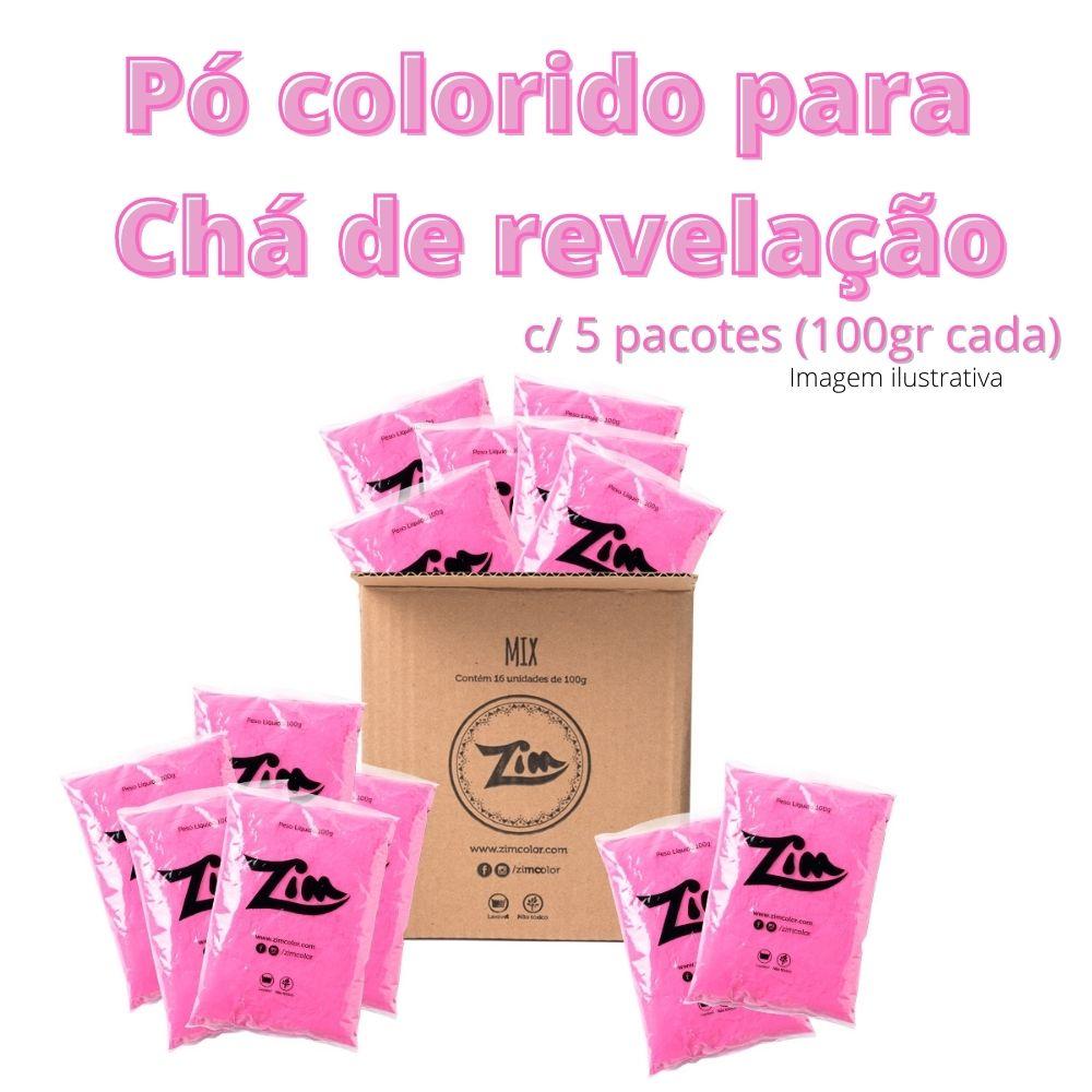 Pó Colorido Zim Color para Chá de Revelação Rosa c/ 5 unid