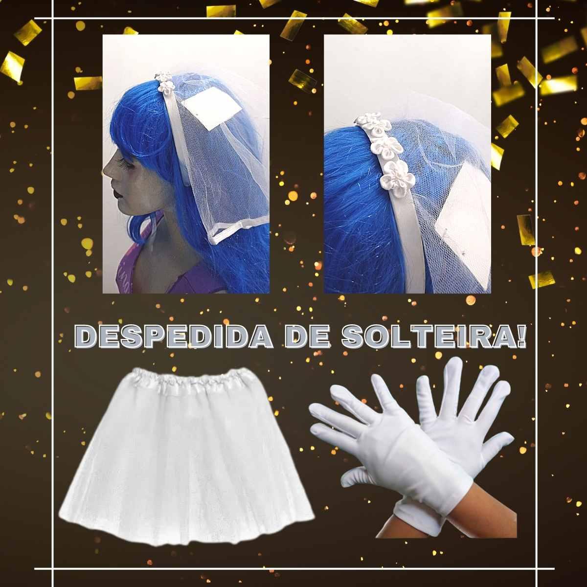 Kit Fantasia Despedida de Solteira Simples (Saia de Tule Branca Adulta + Luva Branca n4 + Tiara Véu de Noiva)