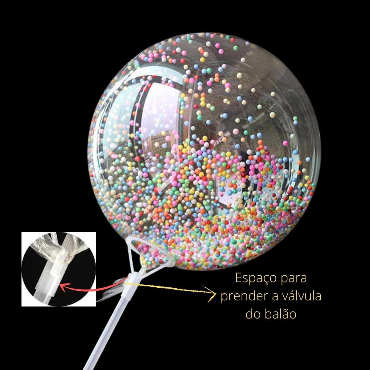Suporte para Balão Transparente 70cm Unidade Kit c/10