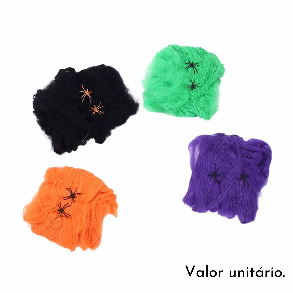 Teia de Aranha Colorida para Halloween 20g