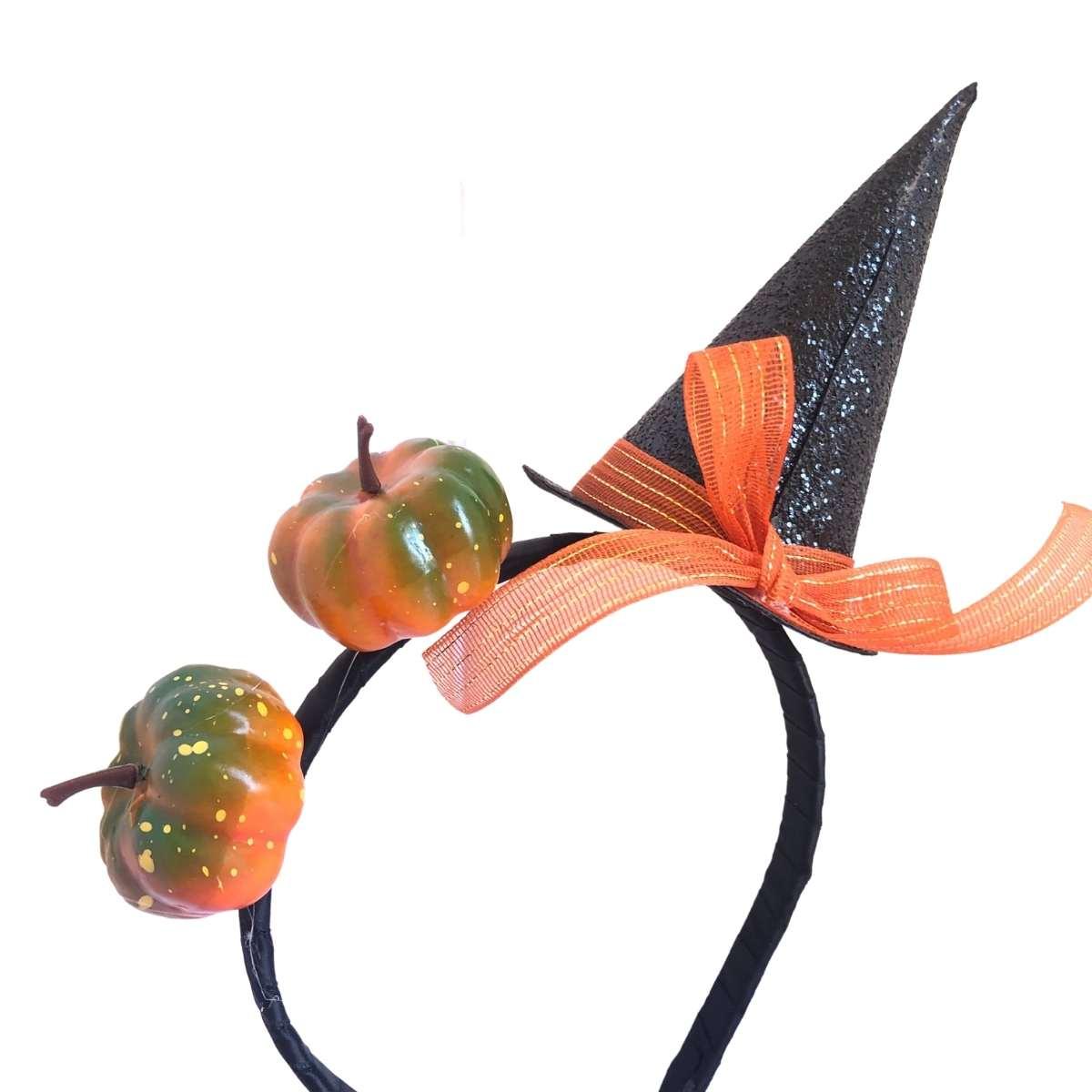 Tiara Mini Chapéu c/ mini abóboras