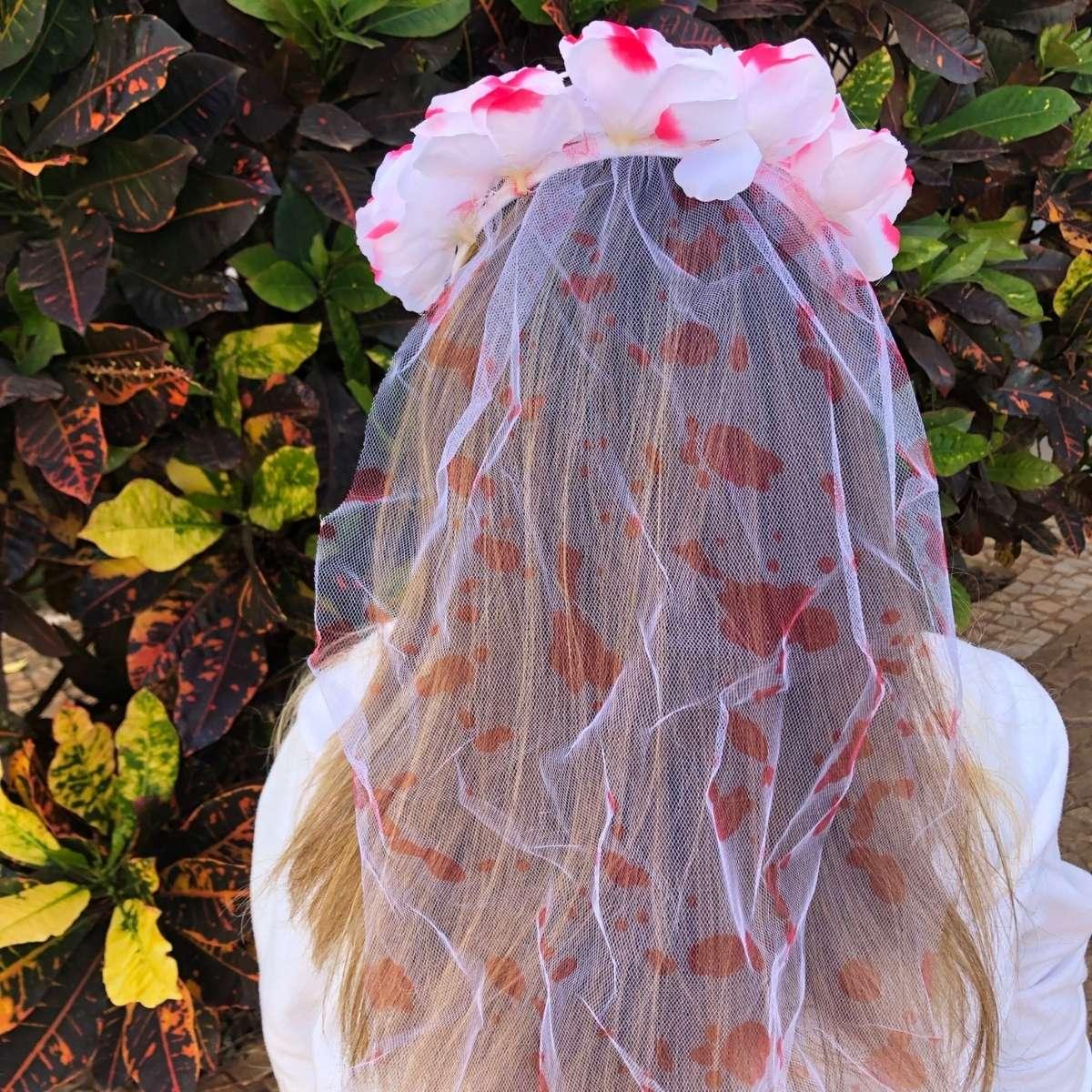 Tiara Véu de Noiva Sangue Halloween