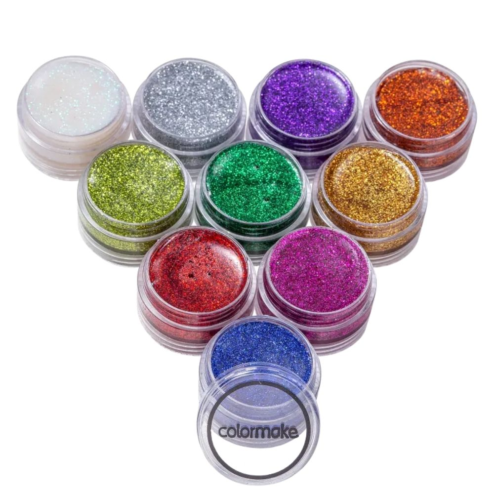 Tinta para Rosto Glitter Cremoso com 10 Cores