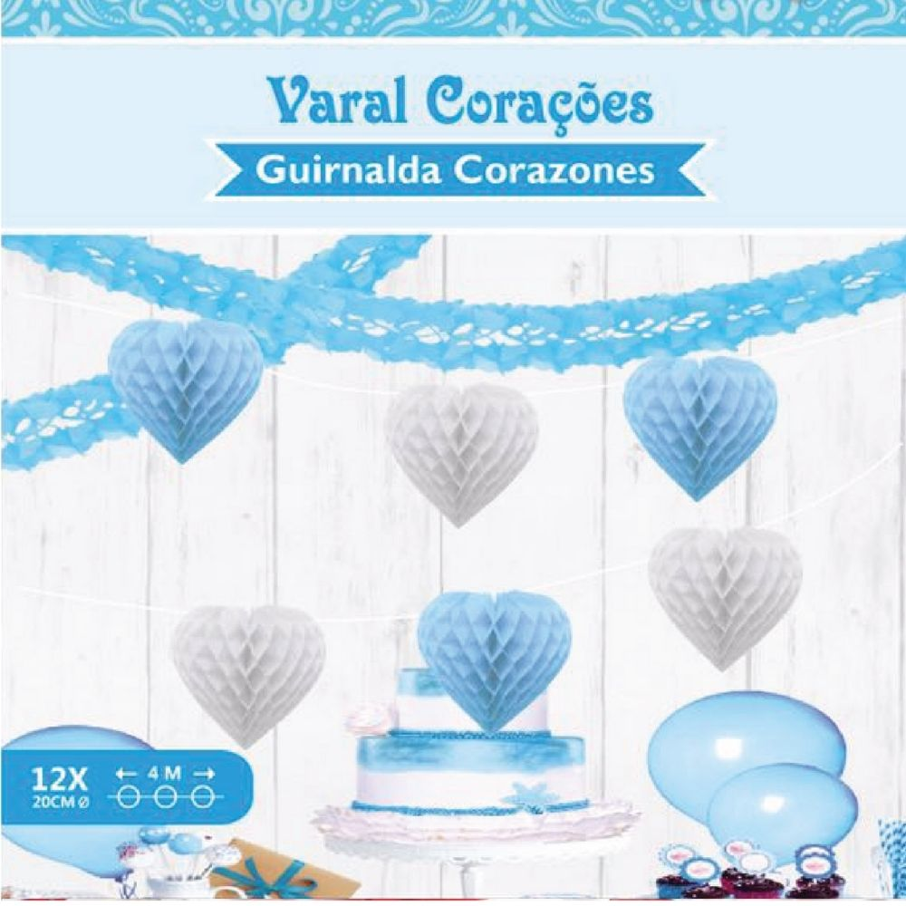 Varal Corações Favo de Abelha Azul/Bco c/4 metros