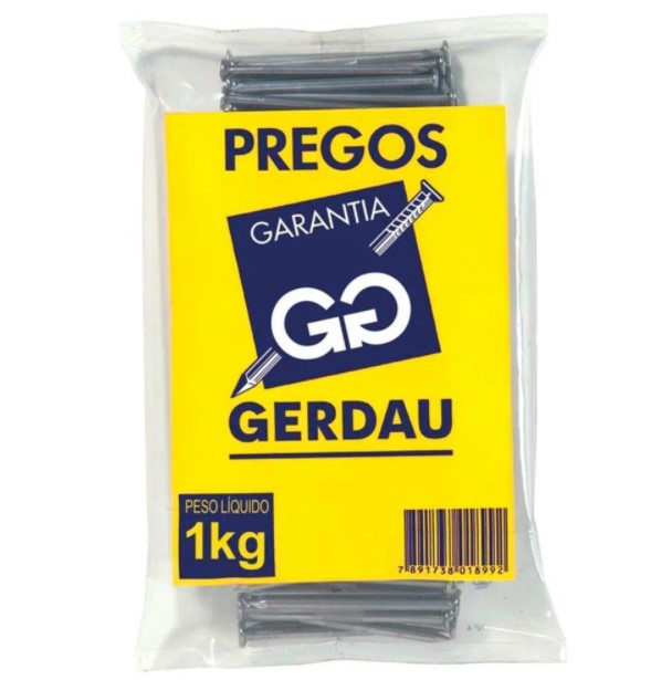 PREGO COM CABEÇA 20X48 GERDAU 1KG