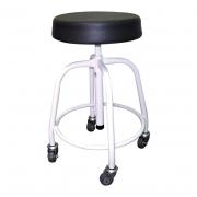 Banco giratório base pintada assento estofado e pés com rodas