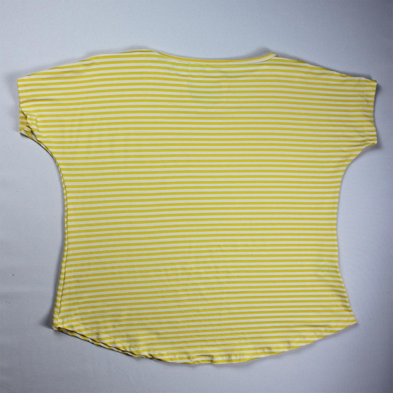 Blusa Viscolycra Feminina - Listrado Branco e Amarelo