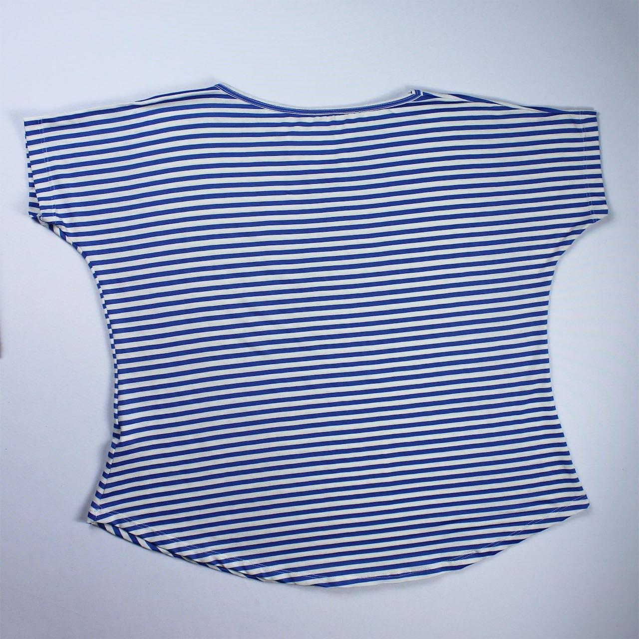 Blusa Viscolycra Feminina - Listrado Branco e Azul