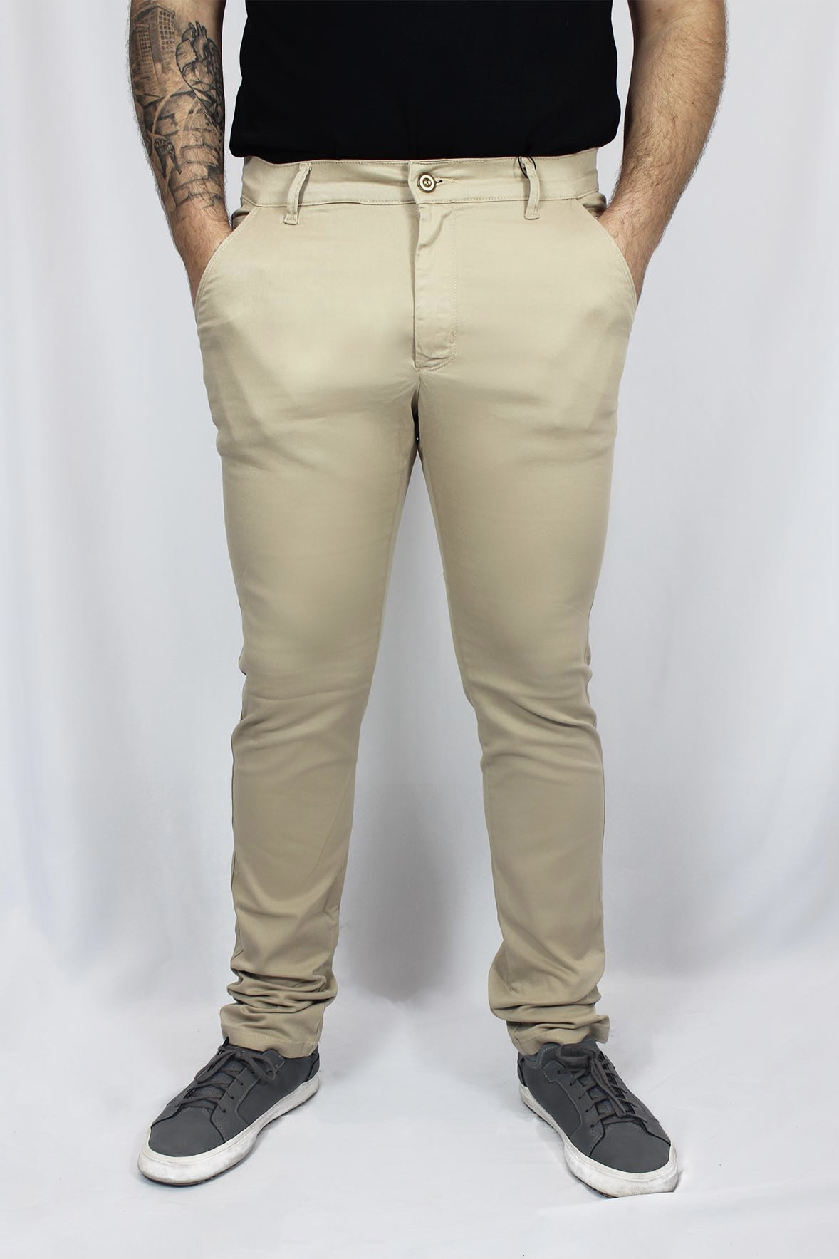 Calça Alfaiataria de Sarja Slim Lisa com Elastano Masculina - Areia