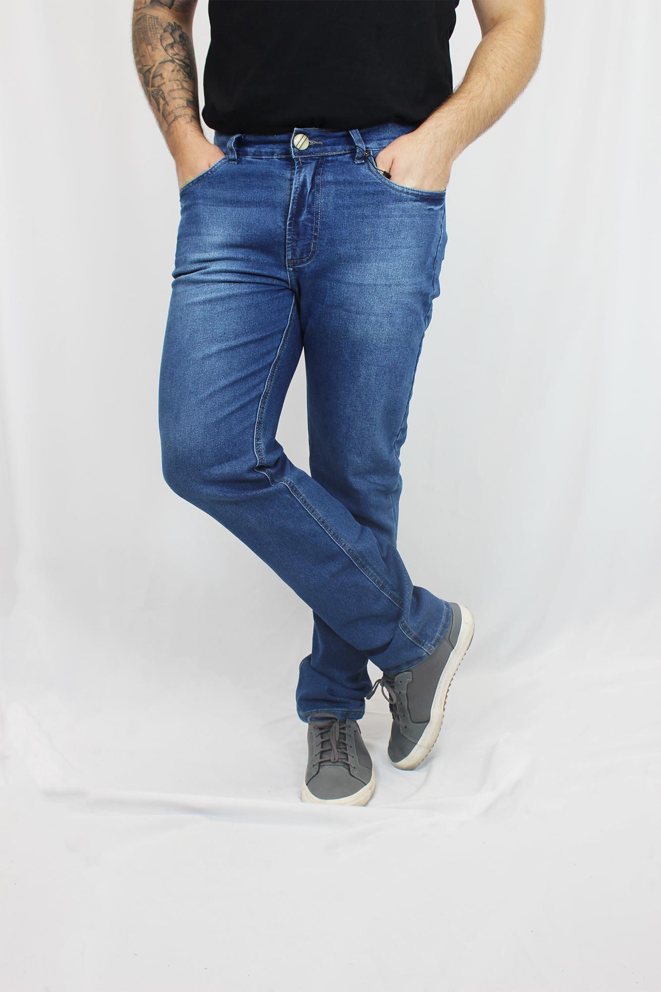 Calça Jeans Slim com Elastano Estonada Masculina - Azul