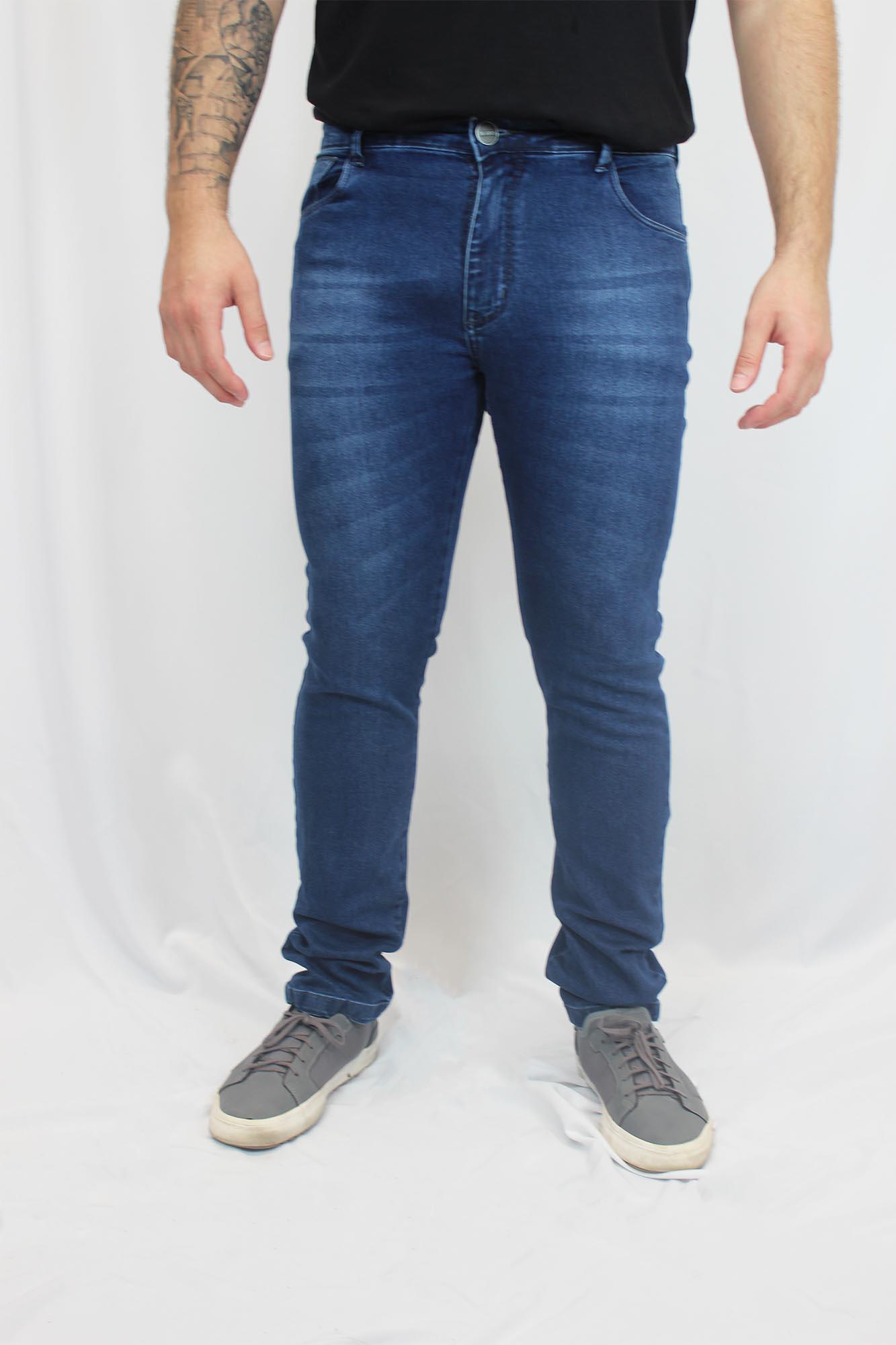 Calça Jeans Slim com Elastano Estonada Garcez Masculina - Azul
