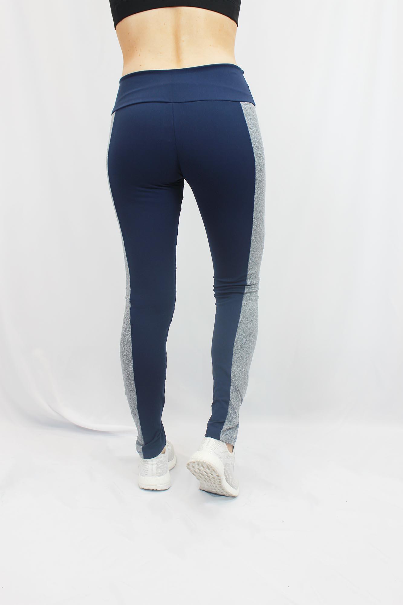 Calça Legging Mesclada Feminina - Azul Marinho