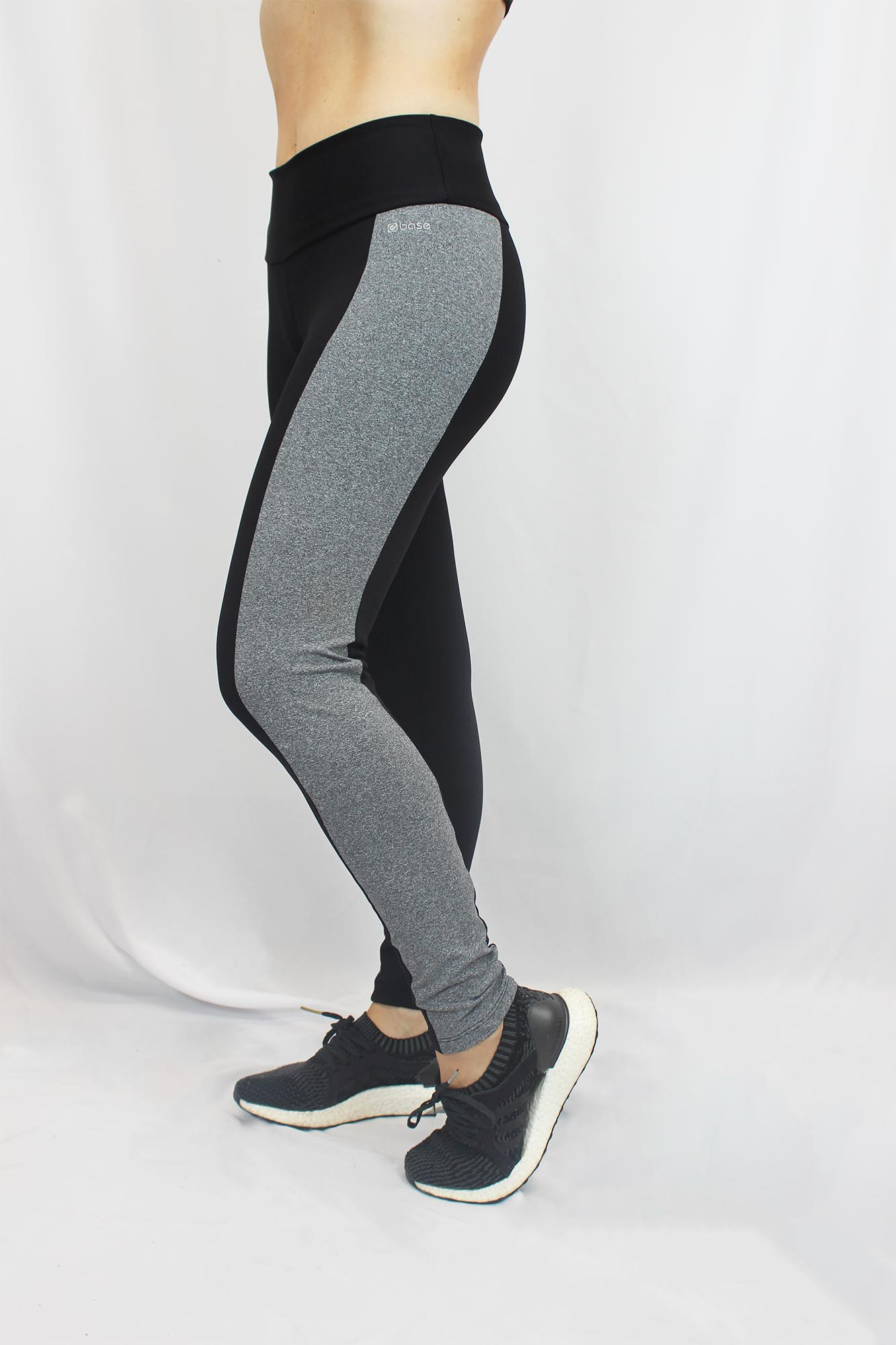 Calça Legging Mesclada Feminina - Preta