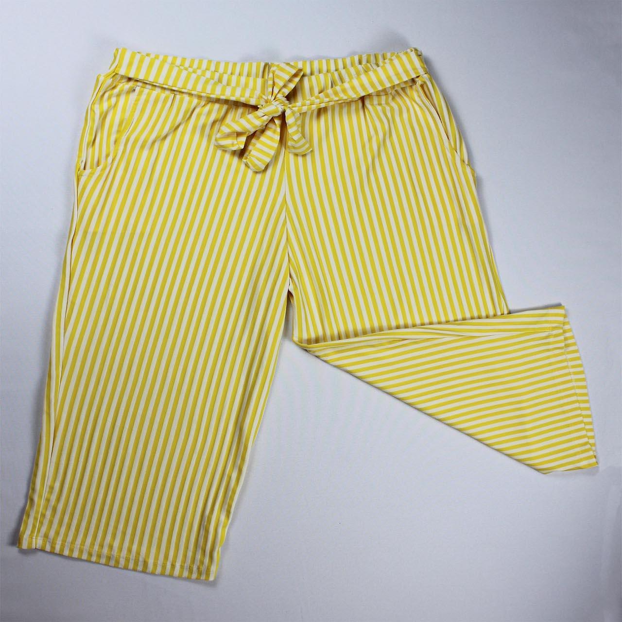 Calça Pantacourt Viscolycra Feminina - Listado Branco e Amarelo