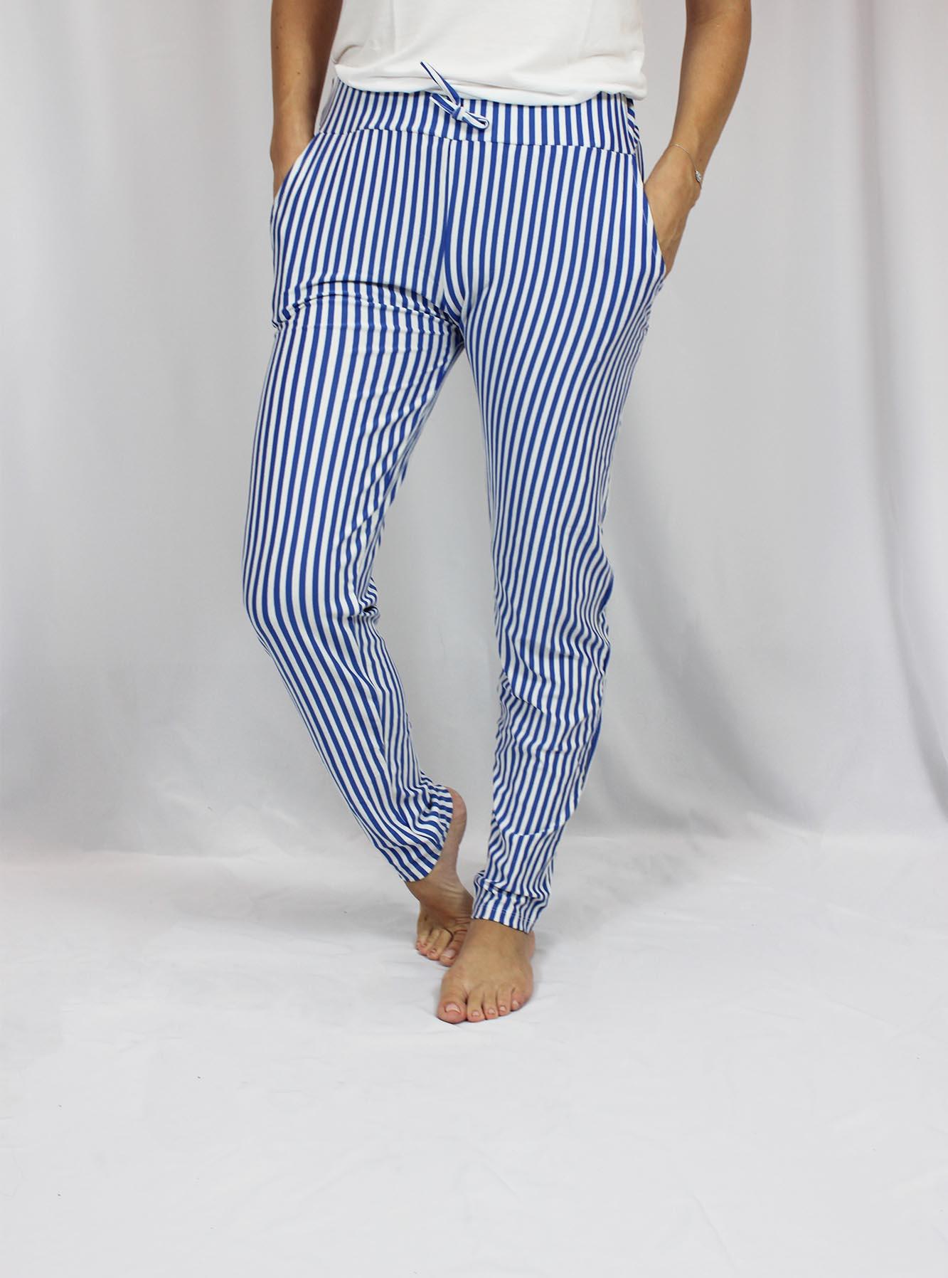 Calça Viscolycra Feminina - Listrado Branco e Azul