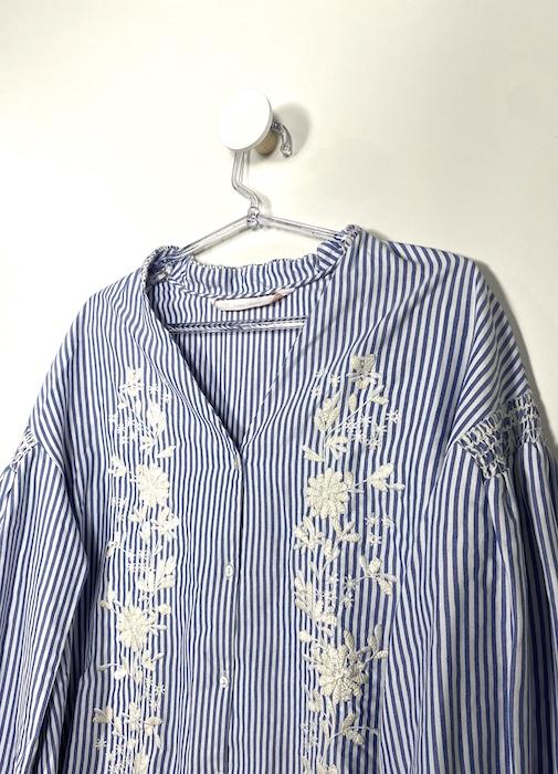 Camisa Listrada Manga Bufante Feminina - Tamanho P