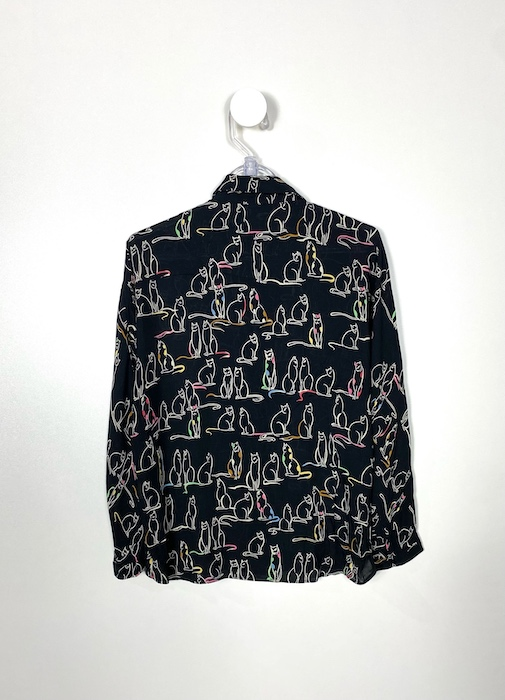 Camisa Preta Estampas Gatos Feminina - Tamanho M (Produto Novo)