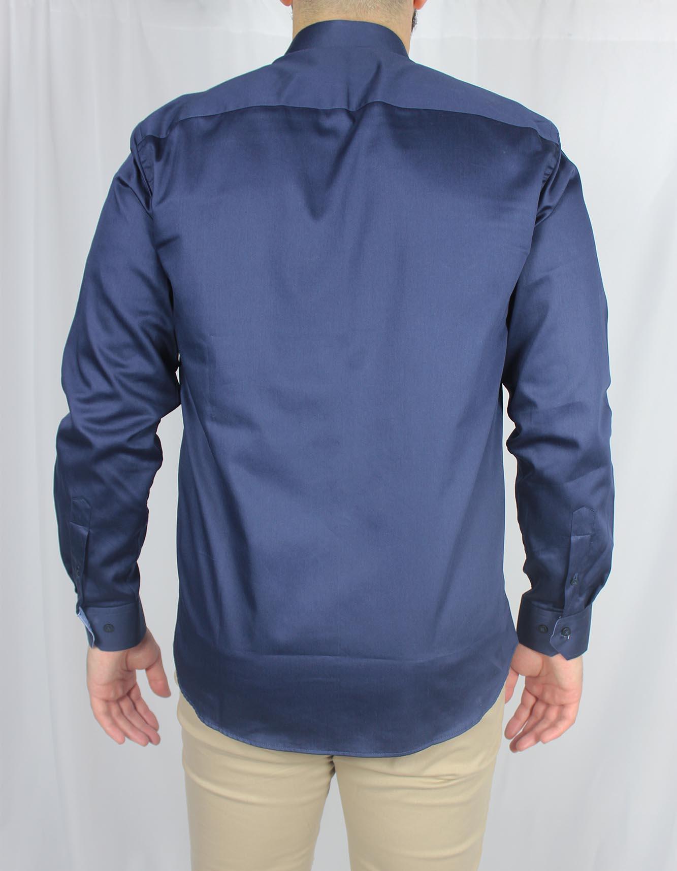 Camisa Social Comfort Fit Detalhe Xadrez MO Masculina - Azul Marinho