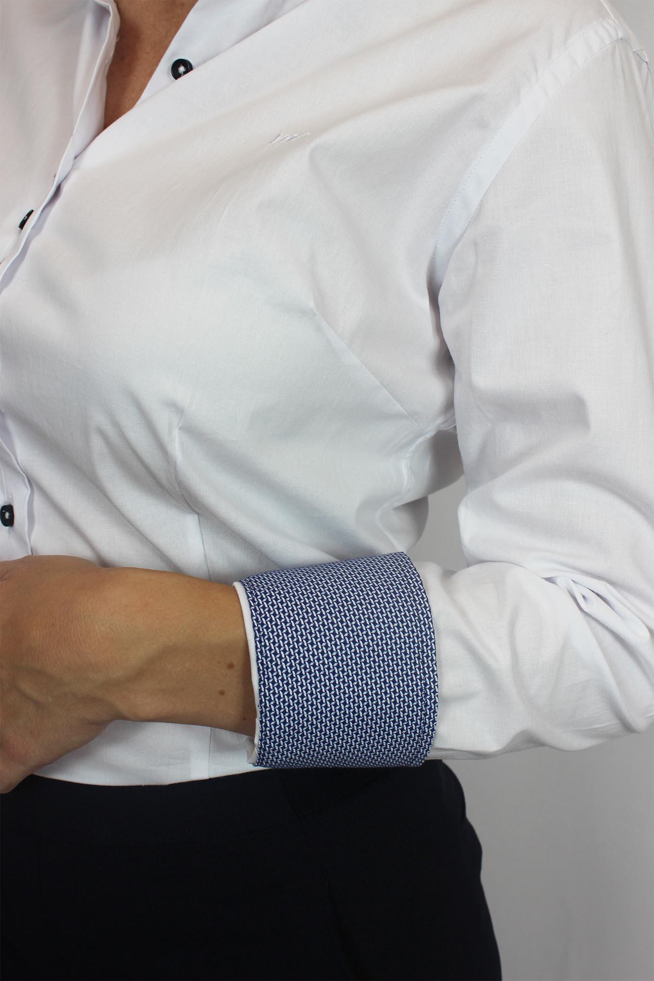 Camisa Social ML Slim Fit Básica Detalhe MO Feminina - Branca