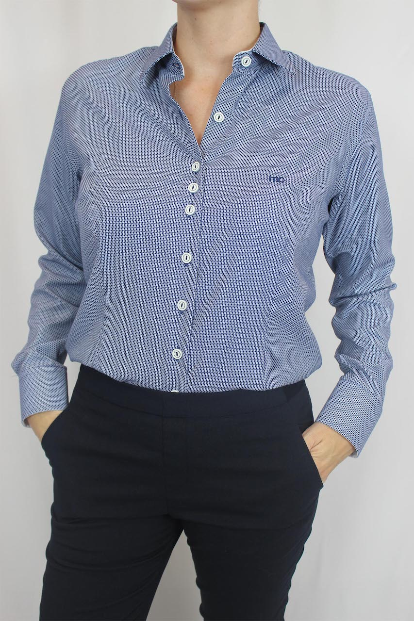 Camisa Social ML Slim Fit Básica MO Feminina - Azul