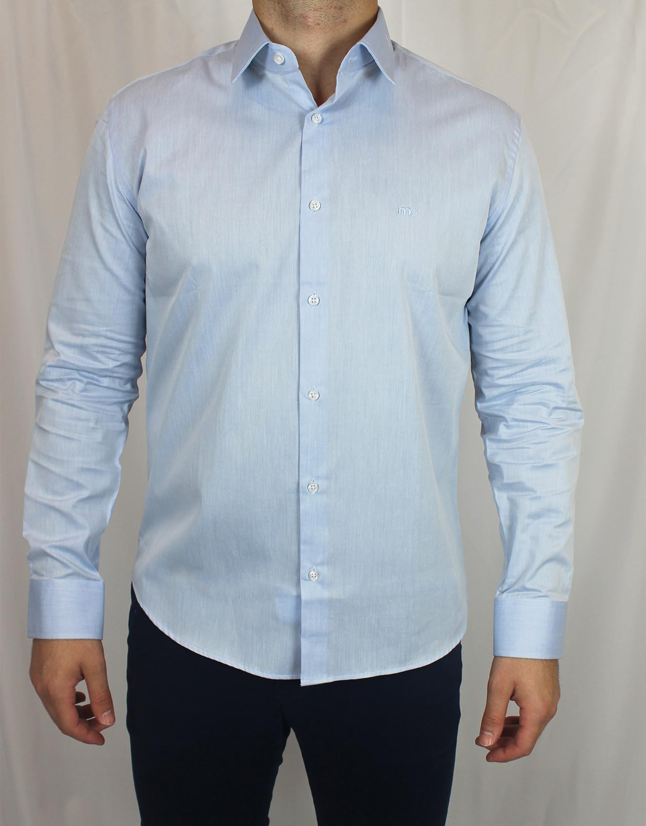 Camisa Social Slim Fit Básica MO Masculina - Azul Claro