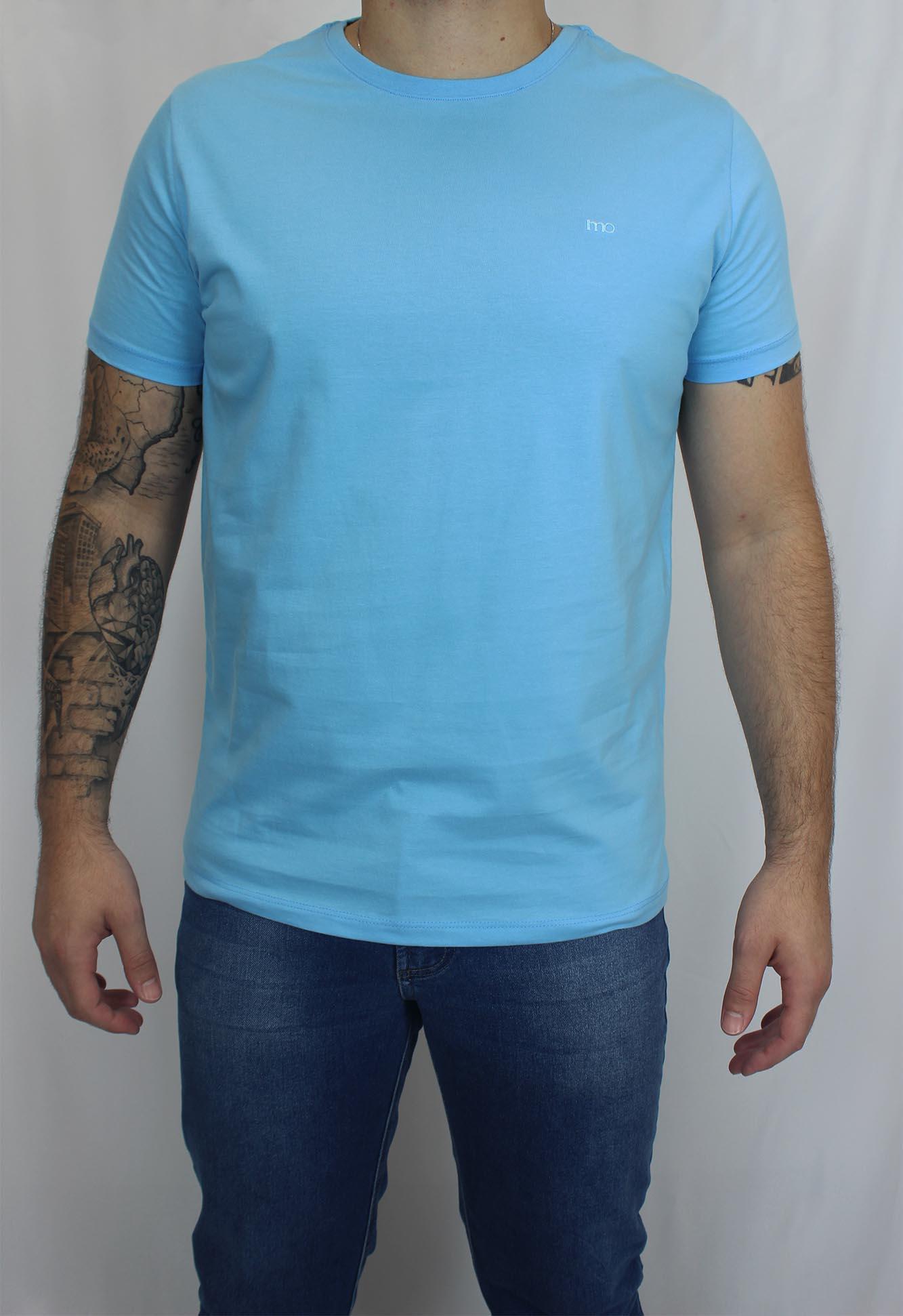 Camiseta Básica Lisa Bordado Masculina - Azul Clara